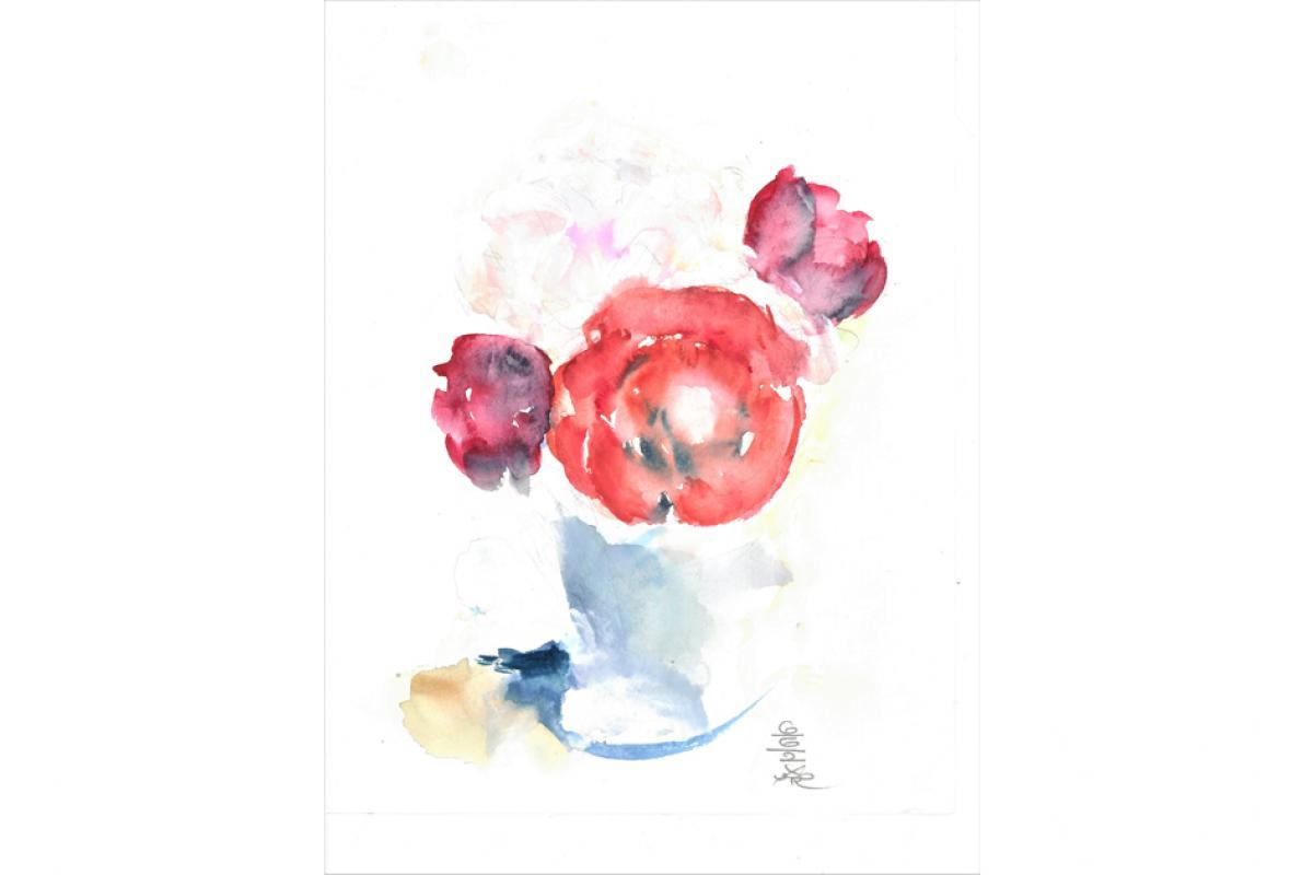 Weiße und rote Rosen, Aquarell auf Papier, 23 x 29 cm, Juni 2002 - Albrecht K. Scherer