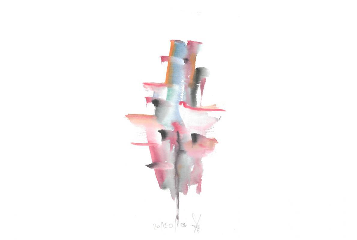 Turm, Aquarell auf Papier, 18 x 29 cm, Dezember 2006- Albrecht K. Scherer