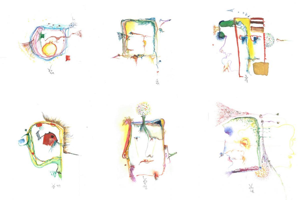 Visages Aquarell auf Papier, 14 x 17 cm, Mai 2002 - Albrecht k. Scherer