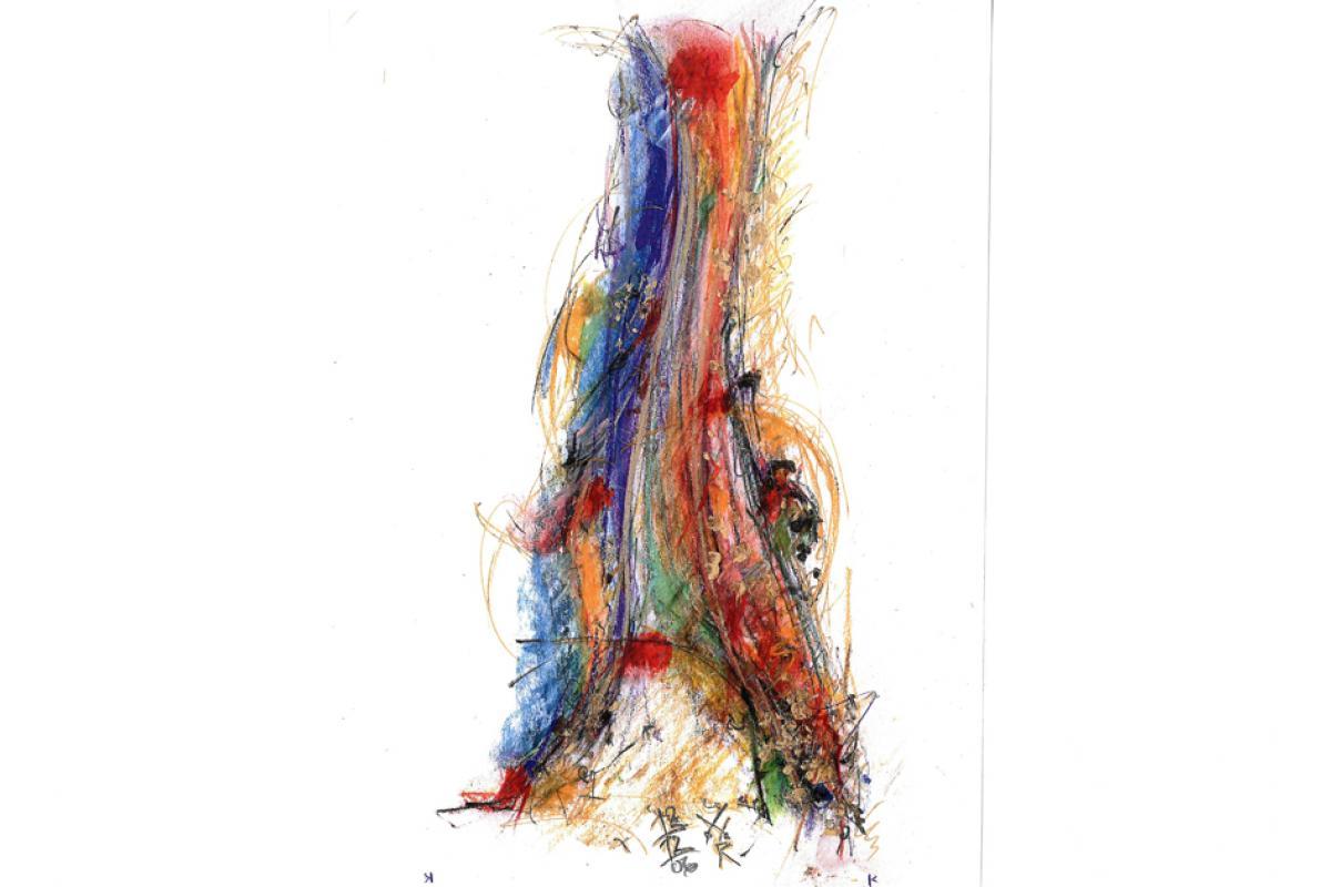 Eruptiv, Acryl auf Papier, 21 x 29 cm, Dezember 2006 - Albrecht K. Scherer