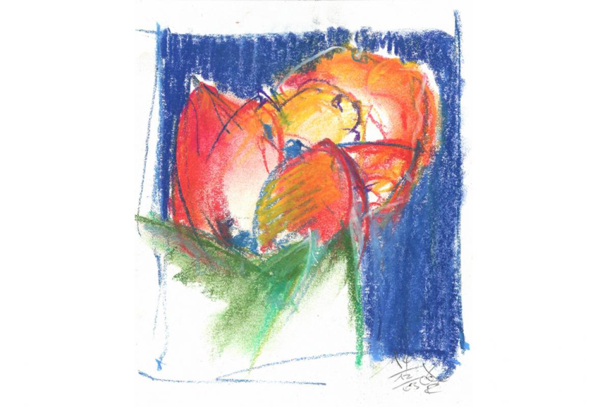 Stilleben, Pastell auf Papier, 18 x 20 cm,  Dezember 2003 - Albrecht K. Scherer