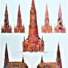 Ulmer Münster, Styrenedruck überzeichnet mit Filzstift auf Papier, 39 x 58 cm, September 2015 - Albrecht K.Scherer