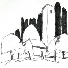 Valacabrère in den Pyrenäen, Filzstift auf Papier, 32 x 23 cm, August 2001 - Albrecht K.