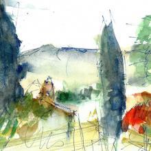 Ausblick Beauvallon, Aquarell auf Papier, 14 x 20 cm, Juni 2015 - Albrecht K. Scherer